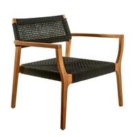 Lounge chair geweven touw zwart