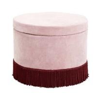 Poef roze corduroy met bourgogne franjes