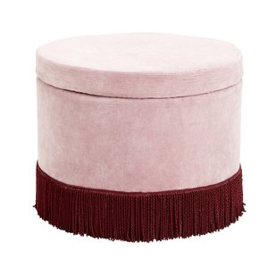 nordal Poef roze corduroy met bourgogne franjes