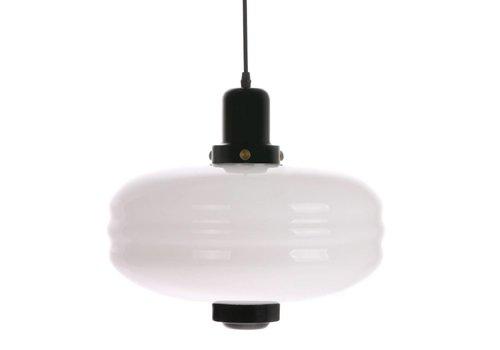 HK Living Hanglamp met wit glas en zwarte accenten L