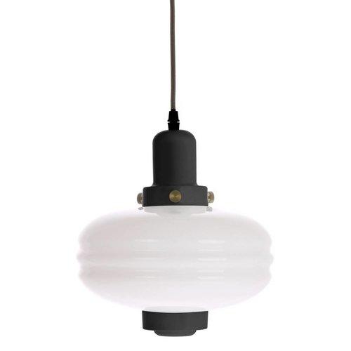 HK Living Hanglamp met wit glas en zwarte accenten M