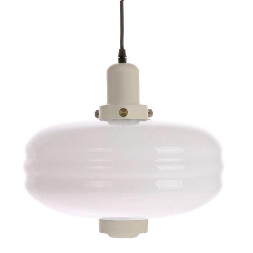 HK Living Hanglamp met wit glas en crèmekleurige accenten L