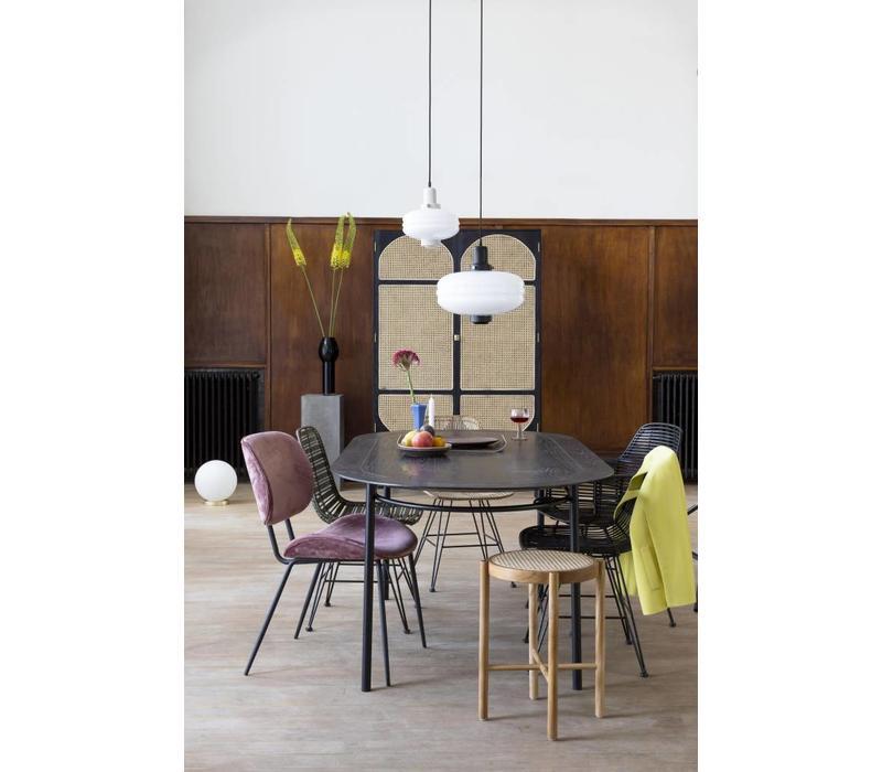 Bolvormige glazen tafellamp wit M