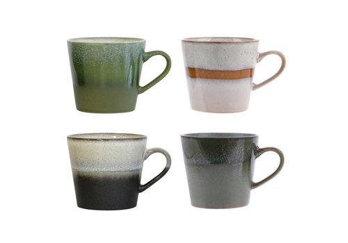 HK Living 70's cappuccino mok set van 4