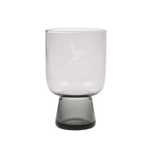 HK Living Smoked grey glas L gegraveerd