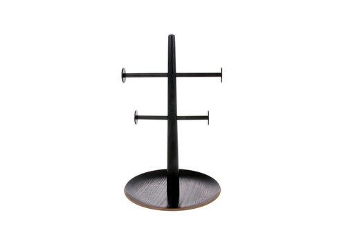 HK Living Zwart houten/metalen sieradenrekje