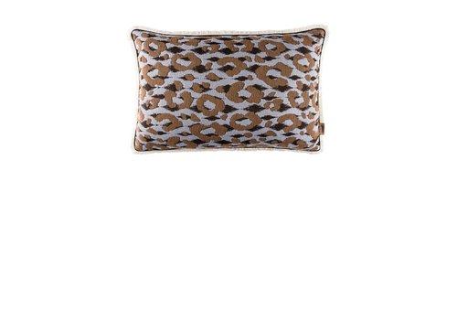 Pom Amsterdam Leopard kussen - lichtblauw 40 x 60