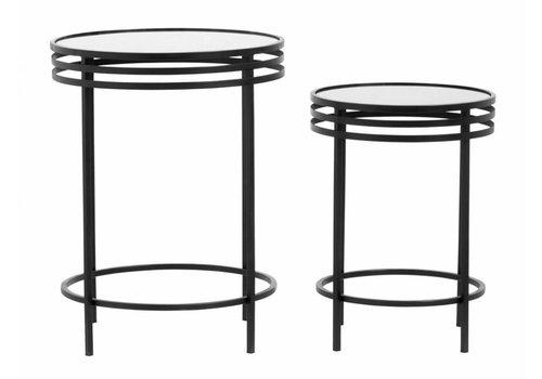nordal Bijzettafels zwart metaal en glas - set van 2