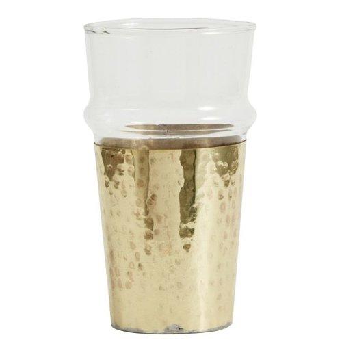 nordal Drinkglas met goudkleurige metalen houder