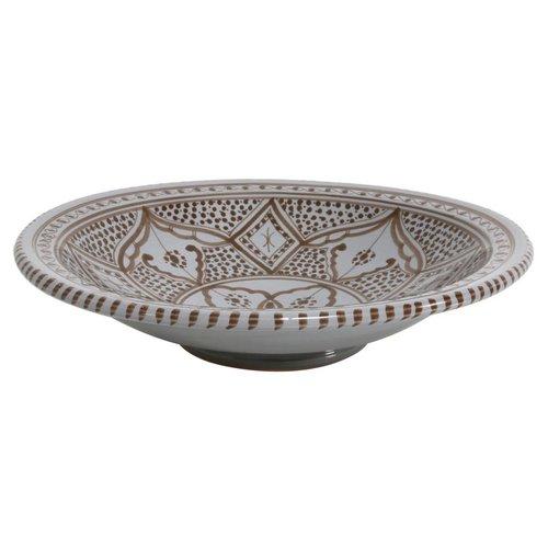 HK Living Souk schaal, keramiek - grijs/bruin large A
