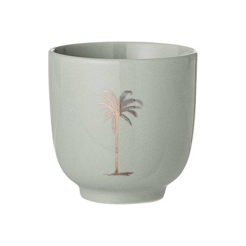 Bloomingville Palmboom kopje, groen, keramiek Ø7 x H7 cm
