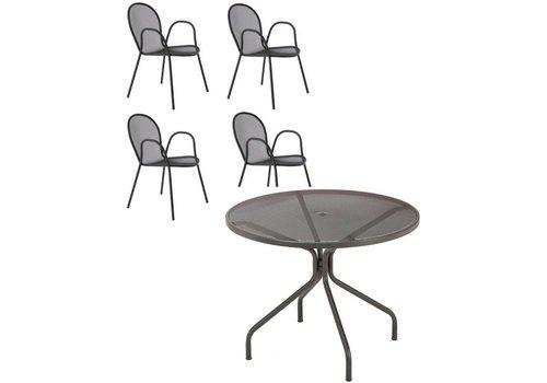 Emu Set 4 Ronda-armstoelen met Cambi-tafel Ø 106 cm - Antraciet