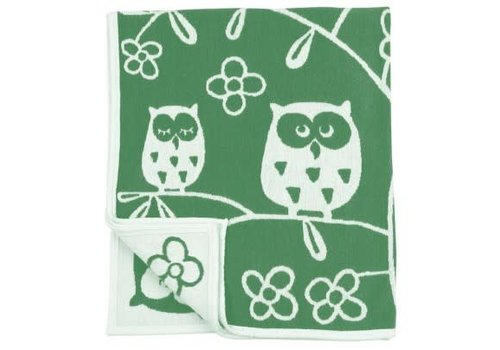 Klippan Tree owl green 90x140 cm katoen chenille