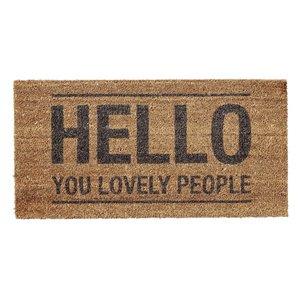 Bloomingville Deurmat kokos 'HELLO you lovely ...´