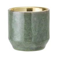 Stenen theelichthouder groen/goud Ø 6xH6 cm