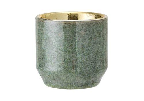 Bloomingville Stenen theelichthouder groen/goud Ø 6xH6 cm
