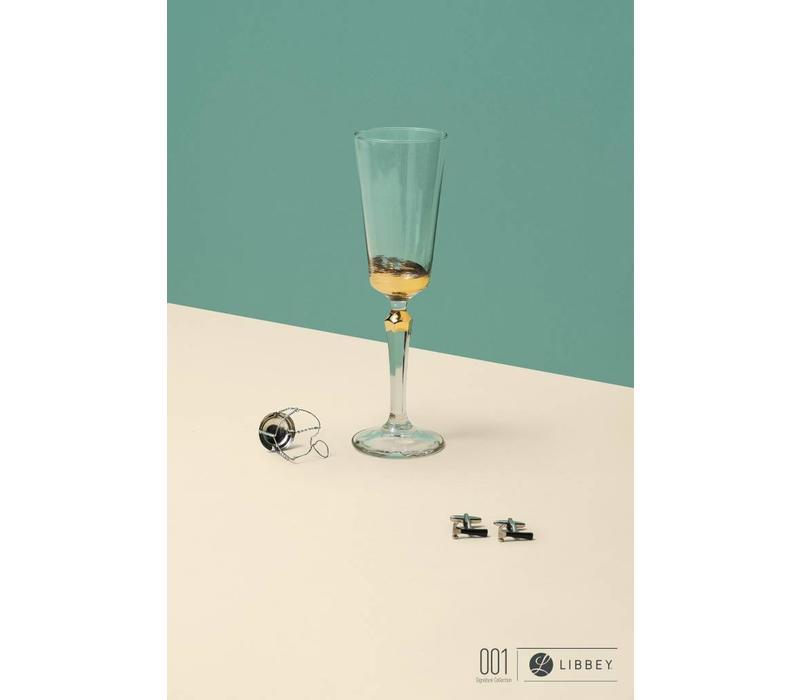 SPKSY champagneglas imperf. gold - set van 2