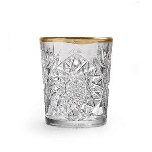 Libbey Hobstar DOF imperf. gold rim glas - set van 2
