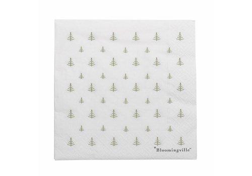 Bloomingville Papieren servetten kerstboompjes pak van 20