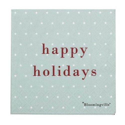 Bloomingville Papieren servetten happy holidays pak van 20