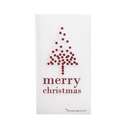 Bloomingville Papieren servetten merry christmas kerstboom pak van 16