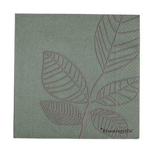 Bloomingville Papieren servetten groen blad pak van 20