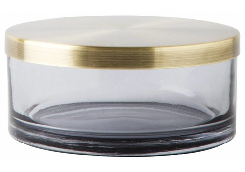 Mette Ditmer Glazen pot met deksel Venezia Zwart/goud