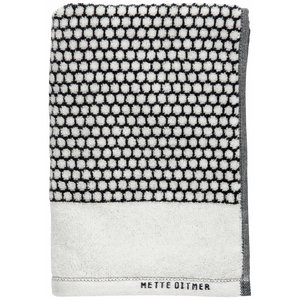 Mette Ditmer Badhanddoek black/off-white grid Large
