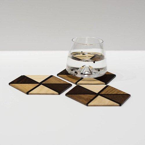 Karooz Zwarte glasonderzetter set van 4