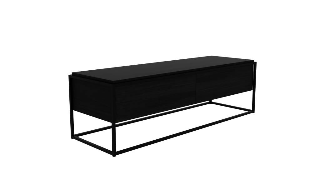 Eiken Tv Kast : Monolit zwart eiken tv kast met zwarte poten vida design