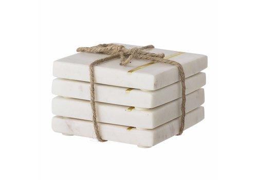 Bloomingville Onderzetter wit marmer set van 4