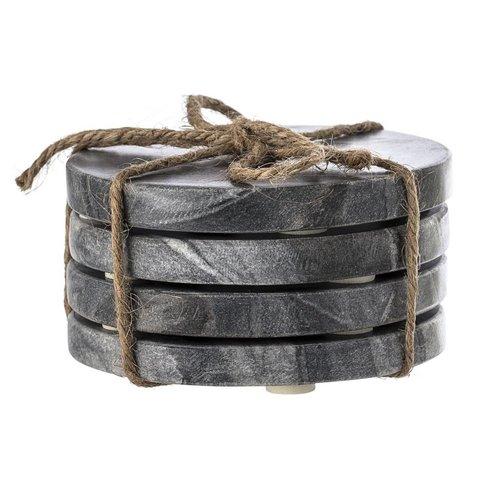 Bloomingville Onderzetter grijs marmer set van 4