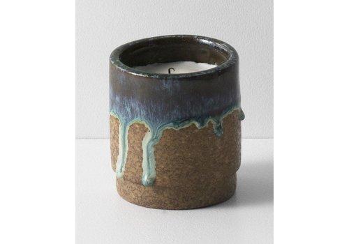 Ferm Living Geurkaars met keramische pot blauw running