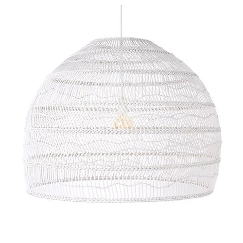 HK Living Wicker hanglamp bol wit L