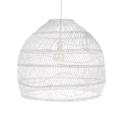 HK Living Wicker rieten hanglamp bol wit M