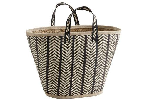nordal Shopping mand palmbladeren zwart/natuur
