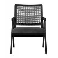 Gevlochten fauteuil zwart met grijs velours