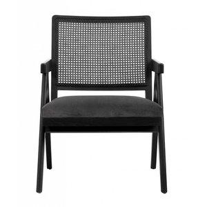 nordal Gevlochten fauteuil zwart met grijs velours