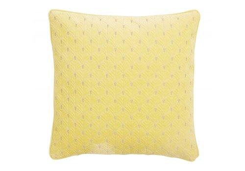 nordal Kussen met borduurwerk geel velours