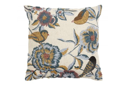 nordal Kussen bloemen/vogels lichtblauw