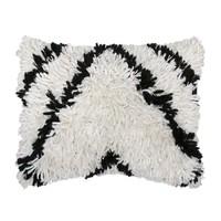 Shaggy zwart/wit kussen (40x50)
