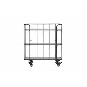 WOOOD Caro metalen trolley met houten planken mat zwart laag