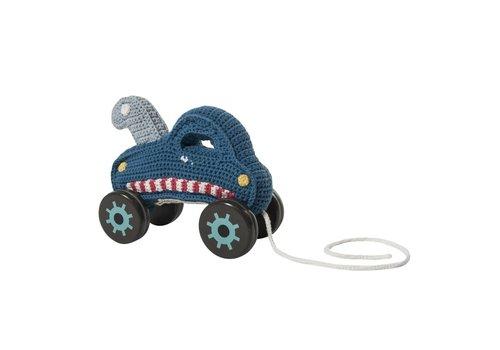 Sebra Trekspeeltje auto gebreid - blauw