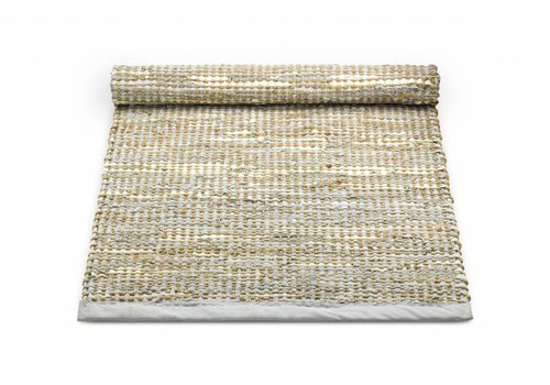 Rug Solid Tapijt leder en jute, smooth grey 65x135 cm