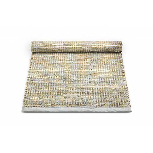 Rug Solid Tapijt smooth grey leder en jute 65 x 135