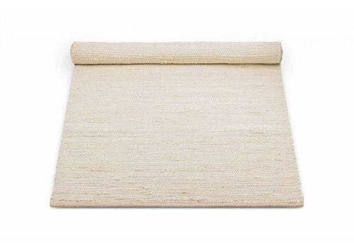 Rug Solid Katoenen tapijt, desert white 65x135 cm