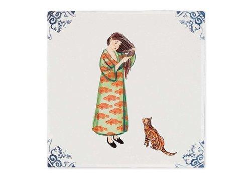 StoryTiles tegel Maak dat de kat wijs small 10x10 cm