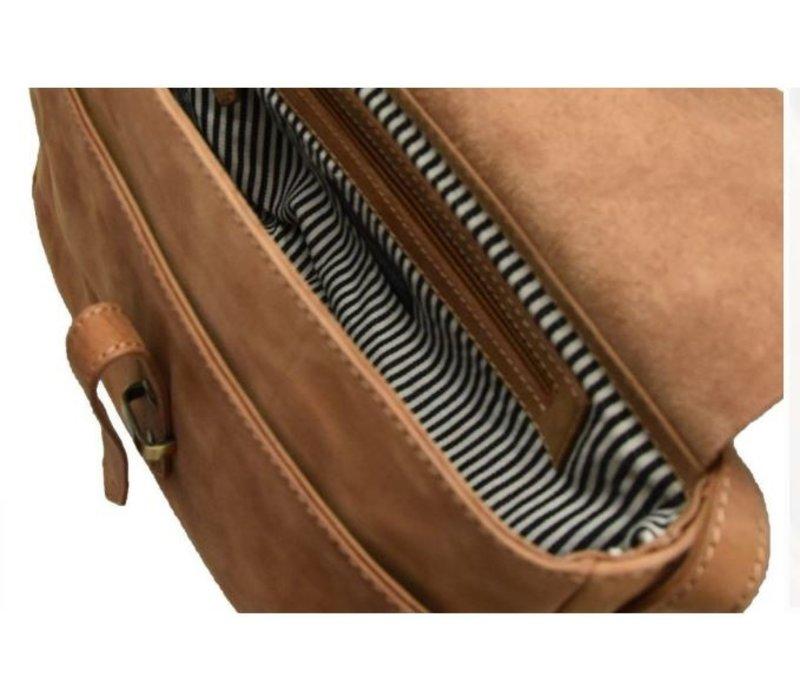 Ally bag midi handtas - hunter leather camel