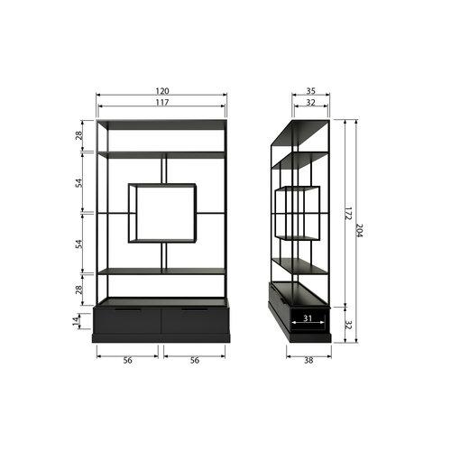 WOOOD Fons vakkenkast metaal/hout mat zwart
