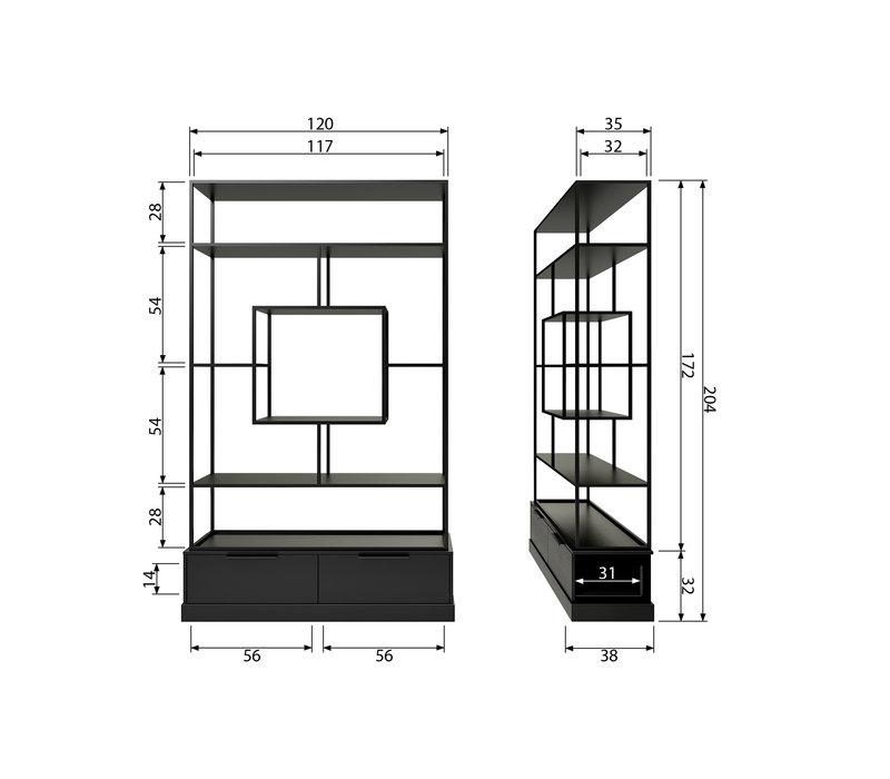 Fons vakkenkast metaal/hout mat zwart